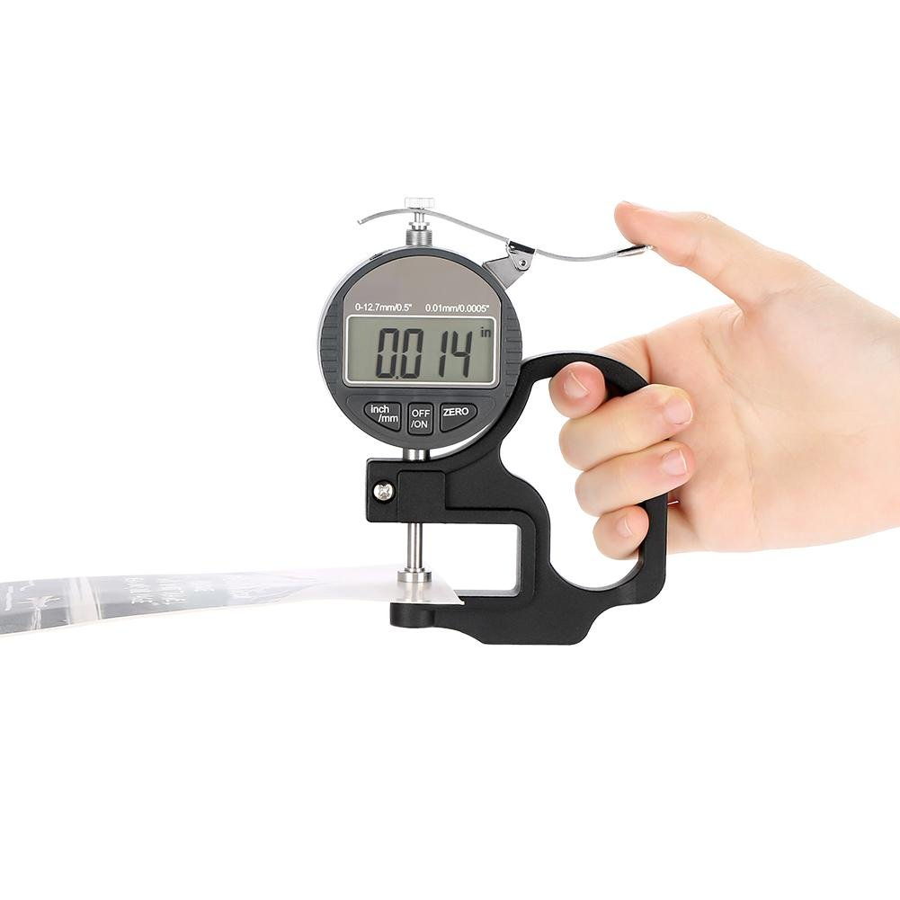 Medidor de Grosor Digital para medir el Grosor del Hilo Mallalah Papel Film de Esponja precisi/ón de 0,01 mm Rango 0-10 mm Tejido de Piel