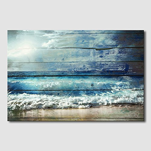 Artland Giclee Canvas Prints Landscape Wall Art 'Ocean Wave 1 ' 1-Piece Framed Painting for Bedroom 24x36-inch