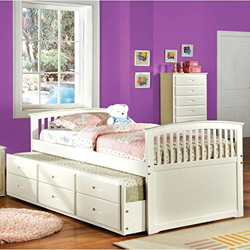 Furniture of America Annetta White Mission Style Captain Bed with Storage Trundle ()