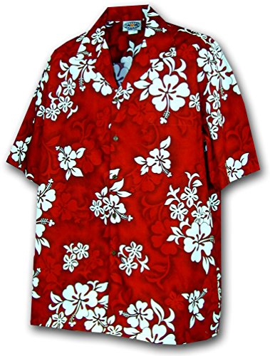 Hawaiian Shirt for Boys - Red w/ White Flowers, X-Large (Red Shirts Flower)