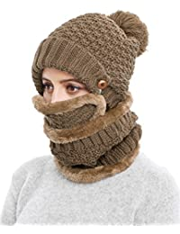 Winter Beanie Hat Scarf and Mask Set 3 Pieces Thick Warm Slouchy Knit Cap