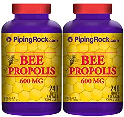 Piping Rock Bee Propolis 600 mg 2 Bottles x 240 Quick Release Capsules Dietary Supplement
