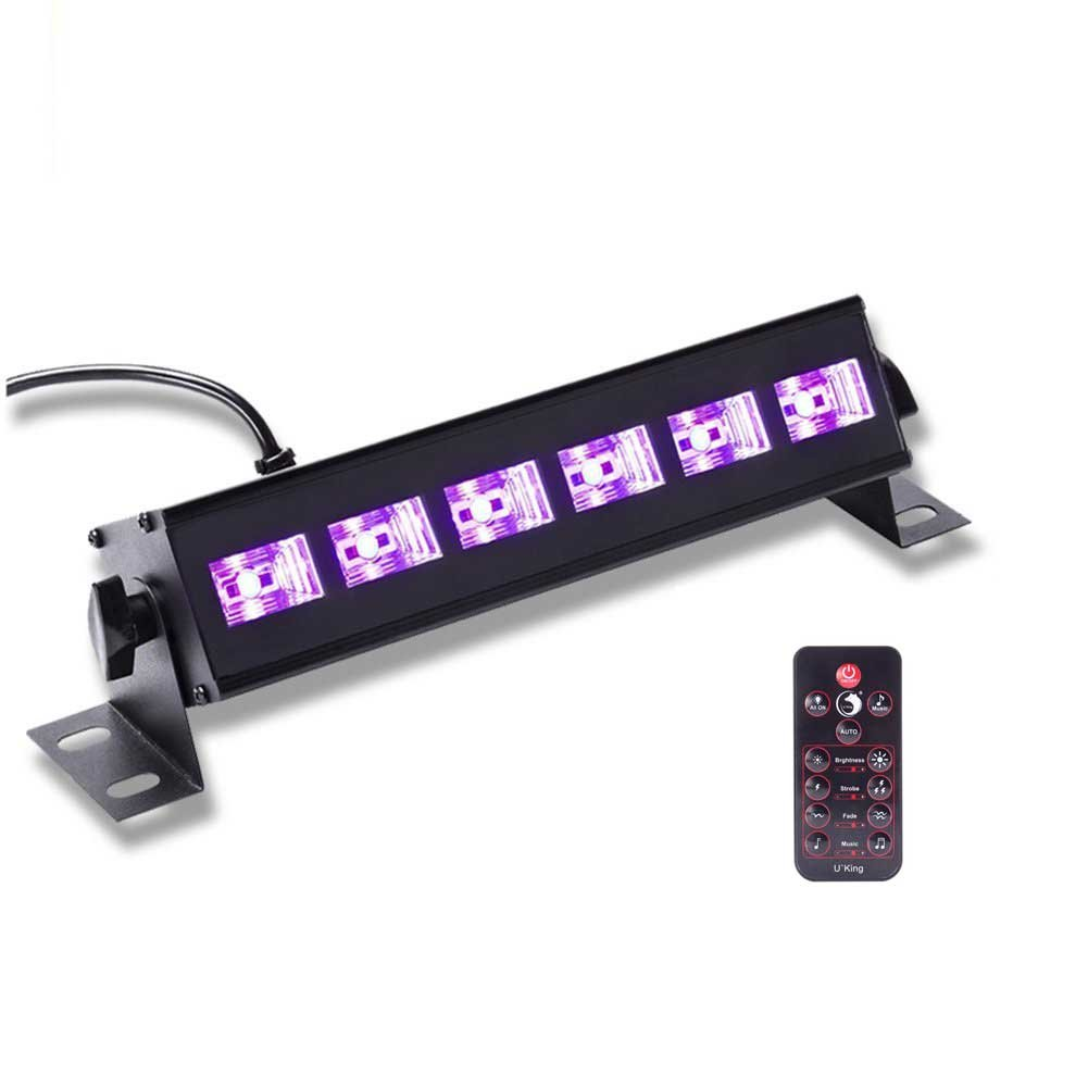 U`King Black Light Bar 6 LED x 3W for Glow Parties by RF Remote Control and DMX Controller