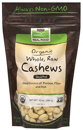 NOW Foods, Certified Organic Cashews, Whole, Raw and Unsalted, Rich Buttery Flavor, Source of Fiber, Protein and Iron, Certified Non-GMO, 10 oz. ()