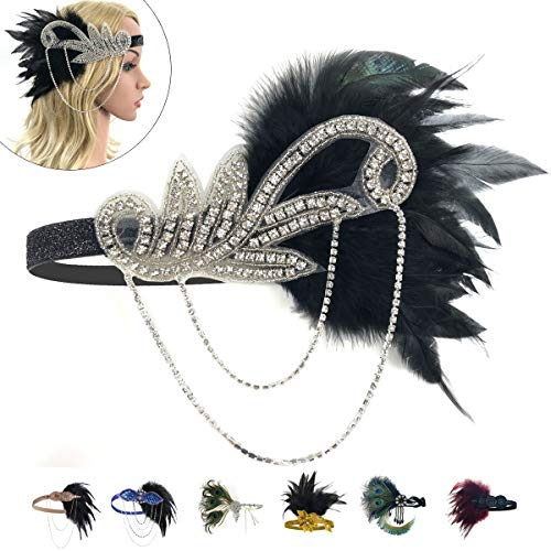 1920 Feather Headband - 1920 Accessories Black Vintage Headband Flapper Costume 1920 Headpiece for Women Gatsby Accessories ()