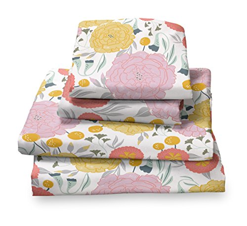 (Where The Polka Dots Roam Light Floral Full Sheet Set, Soft Sheets for Deep Matresses, 4 Piece Full Size Set, Pink, Yellow, Seafoam Teal and Coral Flowers)