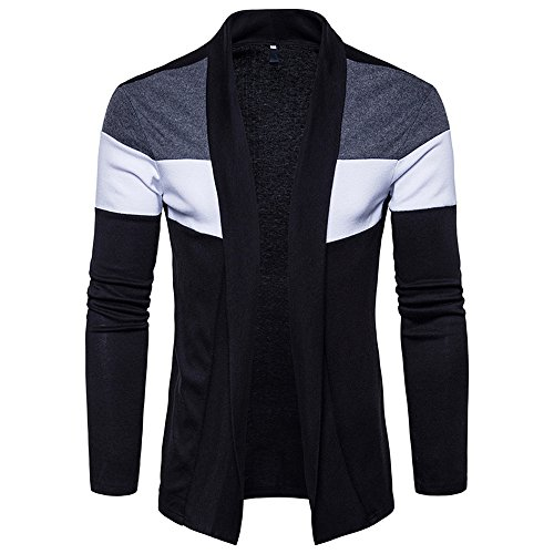 iYBUIA Mens Autumn Winter Slim Fit Hooded Knit Sweater Fashion Patchwork Trench Coat Jacket (Black,XL)