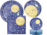 I love you to the Moon and Back Baby Shower / Birthday Party Supplies Kit for 16