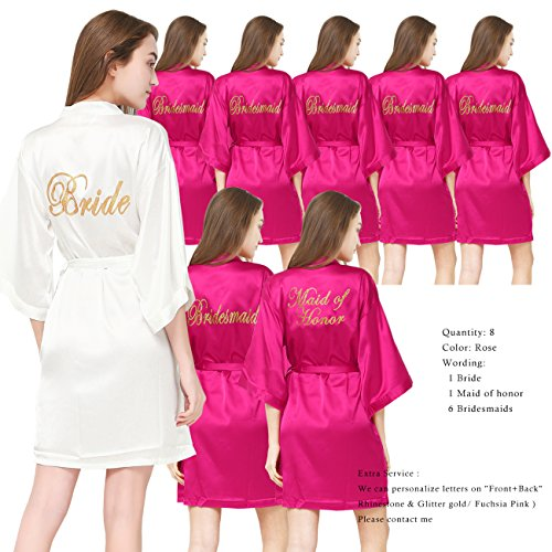 PROGULOVER Set Of 8 Women's Satin Kimono Robes For Bride Bridesmaid With Gold Glitter Wedding Party Maid Of Honor Robes by PROGULOVER