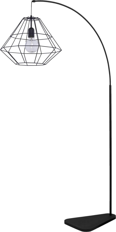 Bogenlampe Schwarz Metall 179cm Modern Design stylisch Moderne Leuchte Wohnzimmer Standleuchte Bogenförmig