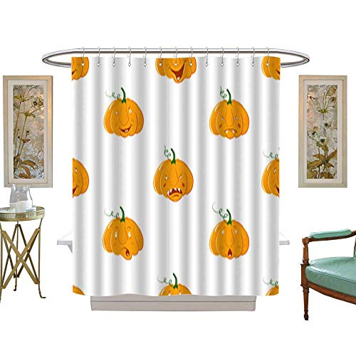 Shower Curtain Cartoon alive pumpkins character seamless pattern Pumpkin with different emotions background For fall wallpaper fabric greeting cards invitation on white background. Customize Waterp