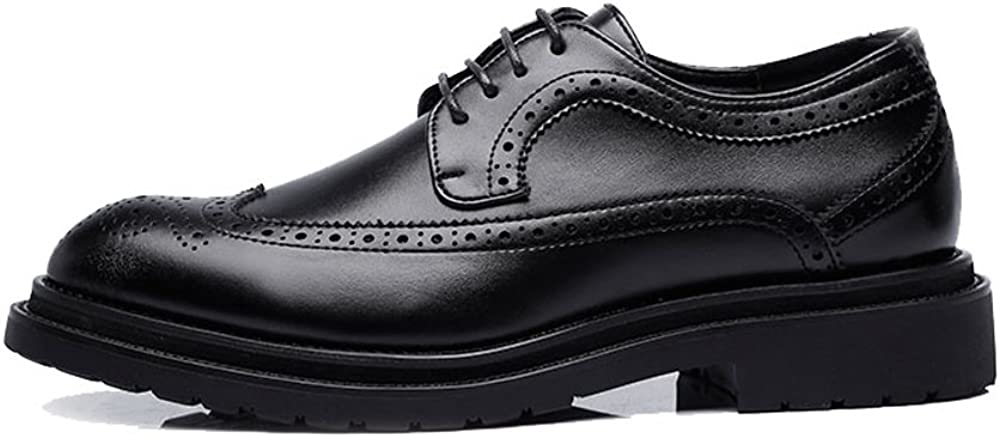 Elegdy Mens Business Shoes PU Leather Upper Lace Up Wingtip Decoration Breathable Outsole Oxfords