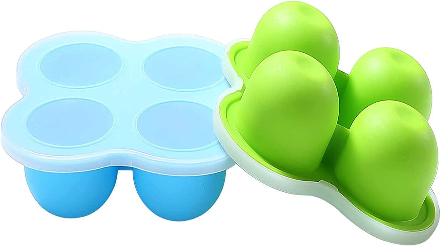 4-Hole Silicone Egg Bites Molds for Instant Pot Accessories 3 Qt by ULEE - Fits Instant Pot 3/5/6/8 Qt Pressure Cooker, Reusable Storage Container with Lid (Blue&Green)