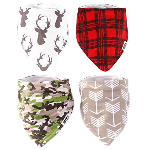 Stadela Baby Adjustable Bandana Drool Bibs for Drooling and Teething Nursery Burp Cloths 4 Pack Baby Shower Gift Set for Boys Hunting Adventure with Deer Antler Arrows Plaid Woodland Forest Animal