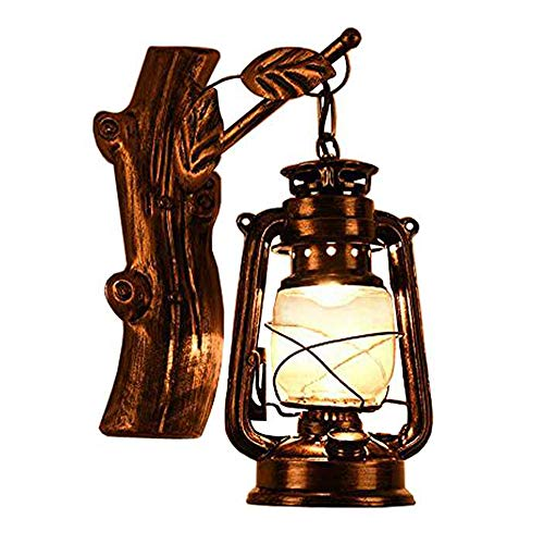 (JINGUO Lighting Rustic Lantern Wall Mounted Light Industrial Vintage Creative Wood Wall Sconce Wall Lamp Lights Sconces Fixture Nautical Style with Glass Clear Shade in Age Bronze for Indoor Restauran)