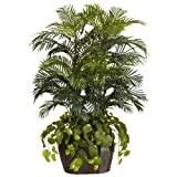 Nearly Natural 6634 Double Areca with Vase and Pothos Decorative Silk Plant, 4.5-Feet, Green