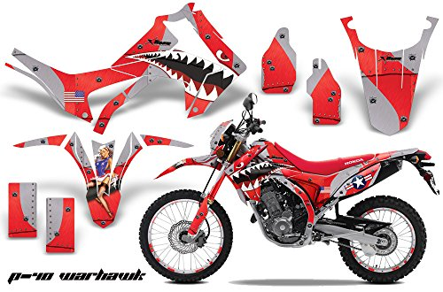 AMR Racing MX Dirt Bike Graphic Kit Sticker Decals with Number Plates Compatible with Honda CRF 250L 2013-2016 - P40 Warhawk Red