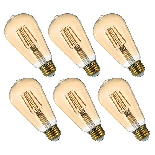 Comyan Dimmable LED Light Bulbs Edison Filament 6-Pack, 30 Watt Equivalent, E26 Medium Base, Warm White Soft 2200K, 4W,ST21, ST64 Antique Vintage Style Light