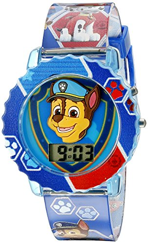 Paw Patrol Kids' Digital Watch with Blue Case, Comfortable Blue Strap, Easy to Buckle - Official 3D Paw Patrol Character on the Dial, Safe for Children - Model: PAW4015 ()