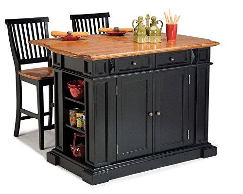 Kitchen Island with Stool, Black and Distressed Oak Finish ()