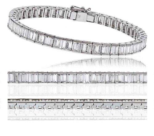 7CT certificado g/VS2 conjunto Canal Baguette corte brazalete de tenis de diamantes en 18 K oro blanco