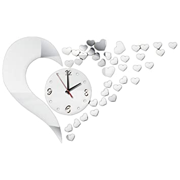 JUNGEN Moderno 3D Reloj Pegatinas de Pared Del Corazón de Acrílico Tatuajes de Pared Arte Craft Murales para DIY Home Room Decor: Amazon.es: Bricolaje y ...