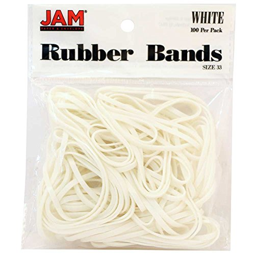 JAM PAPER Colorful Rubber Bands - Size 33 - White Rubberbands - 100/Pack