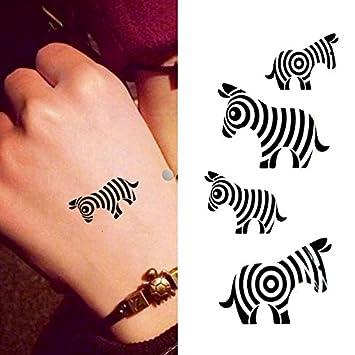 62a406fc3 Amazon.com : Oottati Small Cute Temporary Tattoo Zebra Totem Hand (Set of  2) : Beauty