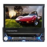 Oucan 7 Inch Touch Screen Single Din In Dash Flip Out Car Stereo CD DVD Player FM Receiver Built-in Analog TV Tuner Bluetooth Support Steering Wheel Remote Control USB/SD/AUX