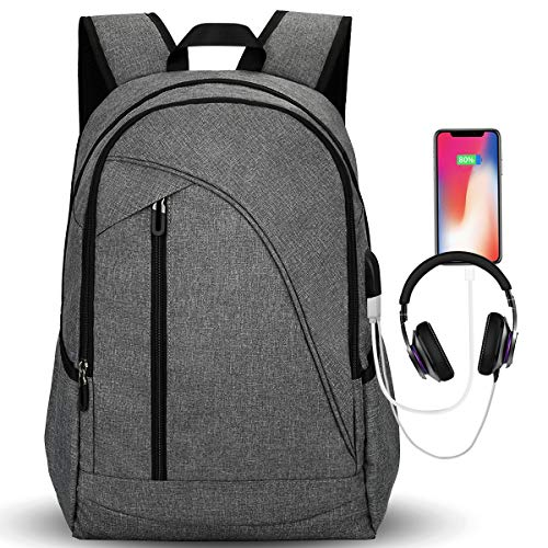 Laptop Backpack for School Travel, Tocode 17 Laptop Computer Bag for Mens and Women with USB Charging Port Headphone Jack Water Resistant Large Capacity College School Backpacks -Gray
