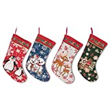 18'' Set of 4 Polar Bears, Rudolph, Penguins and Gingerbread Man Christmas Stockings