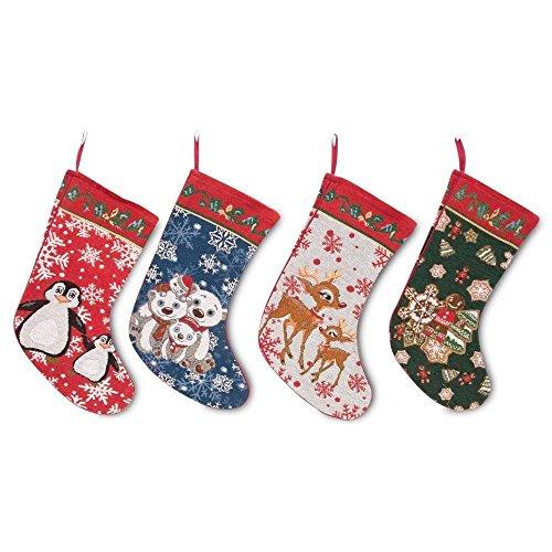 "18"" Set of 4 Polar Bears, Rudolph, Penguins and Gingerbread Man Christmas Stockings"