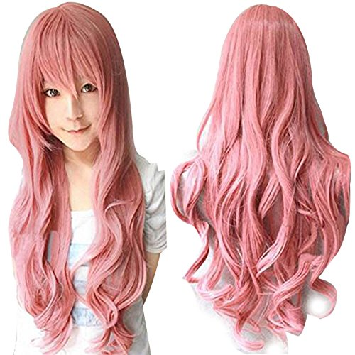 Anogol® Free Hair Cap + 32'' 80cm Long Wavy Hair Vocaloid Fluttershy Wig Women's Pink Party Wigs