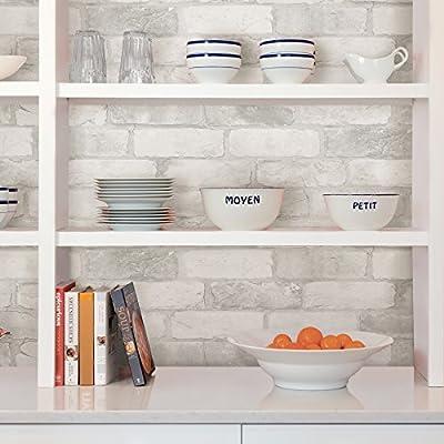 NuWallpaper NU2218 Loft White Brick Peel & Stick Wallpaper, White and Off-White