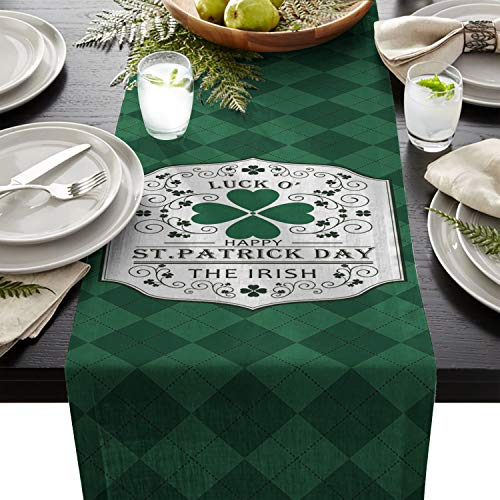 ARTSHOWING St. Patrick's Day Table Runner Party Supplies Fabric Decorations for Wedding Birthday Baby Shower 13x90inch Celtic Cultural Buffalo Checked Lattice with ()