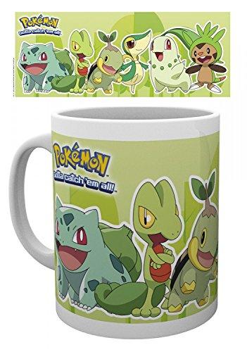 1art1 Set: Pokemon, Grass Types, Bulbasaur, Treecko, Turtwig, Snivy, Chikorita, Chespin Photo Coffee Mug (4x3 inches) and 1x Surprise Sticker