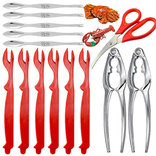 Professional Seafood Tools Picks Set Crackers Tools, 2 Nut Crackers + 1 Scissor + 6 Red Picks + 5 Stainless Steel Forks Kitchen Easy-opener Picnic Tools for Lobster, Crab Claws and Other Crustaceans