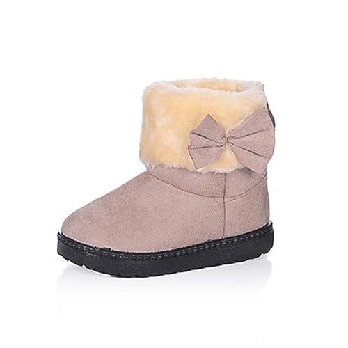 1fd9b24f4 Botas de Invierno para niñas Botas de algodón para niños Calientes con  Botines Antideslizantes de Nudo Mariposa  Amazon.es  Zapatos y complementos