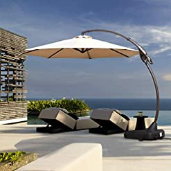 Garden and Outdoor Grand Patio Deluxe NAPOLI 11 FT Curvy Aluminum Offset Umbrella, Patio Cantilever Umbrella with Base, Champagne patio umbrellas