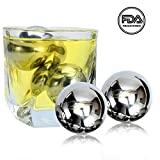 Image of Unique Solution Reusable Stainless Steel Globe Ice Cubes -Set of 4 Big Whiskey Balls with Velvet Storage Bag - Whisky, Wine, Beer, Vodka, Champagne, Spirits Chiller & Cooler Stones
