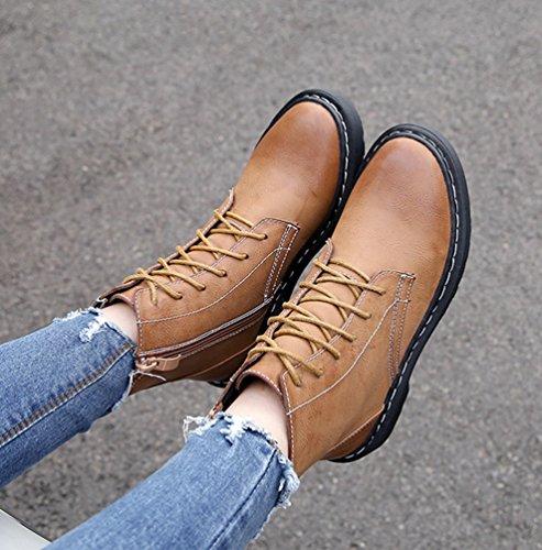 Bottes En Cuir Bottes Bottes Dames D'hiver Femmes Cheville Kaki Chaussures Neige À Velours De plus Lacets Anguang Plat 1ACS8q