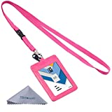 (US) Wisdompro 2-Sided Vertical Style PU Leather ID Badge Holder with 1 ID Window and 1 Card Slot and 1 piece 23 inch Polyester Detachable Neck Lanyard / Strap (Holds 3 to 4 Cards - Hot Pink