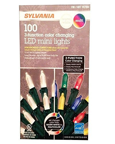 Sylvania 3 Function Color Changing 100 LED Mini Light, Warm White/Multi