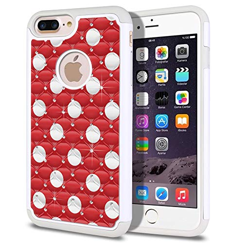 FINCIBO Case Compatible with Apple iPhone 7 Plus/iPhone 8 Plus, Dual Layer Hybrid Protector Case Cover TPU Rhinestone Bling for iPhone 7 Plus / 8 Plus (NOT FIT iPhone 7/8) - Red Polka Dots ()