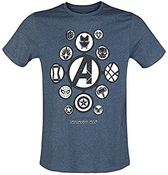 Avengers Infinity War - Logos Camiseta Azul Jaspe AYTW2