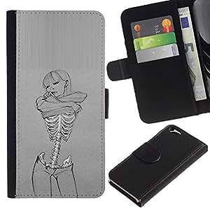 KingStore / Leather Etui en cuir / Apple Iphone 6 / Amor Arte Mujer esquelética gris Sexy