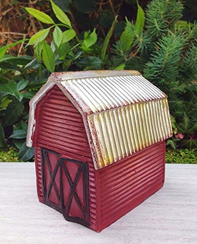 Red Ladybug House - My Fairy Gardens Miniature - Mini Red FARM Barn House w Silver Roof - Mini Dollhouse Supply Expressions