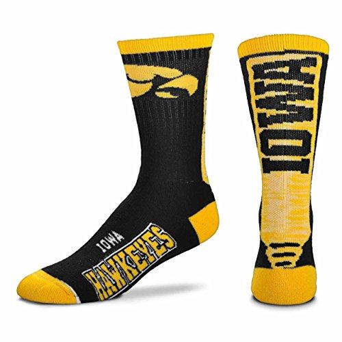 For Bare Feet Iowa Hawkeyes Adult NCAA Jump Key Socks - Team Color, Medium