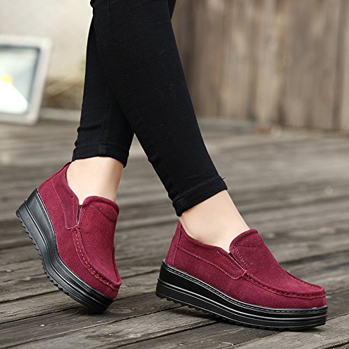 HKR Frauen Plattform Slip auf Loafers Comfort Wildleder Mokassins Breite Low Top Wedge Schuhe 329 Weinrot