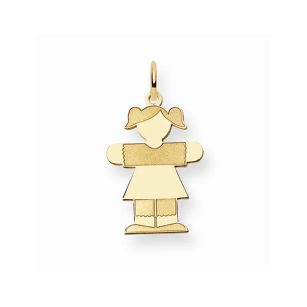 14K Yellow Gold Kid Girl Charm Pendant